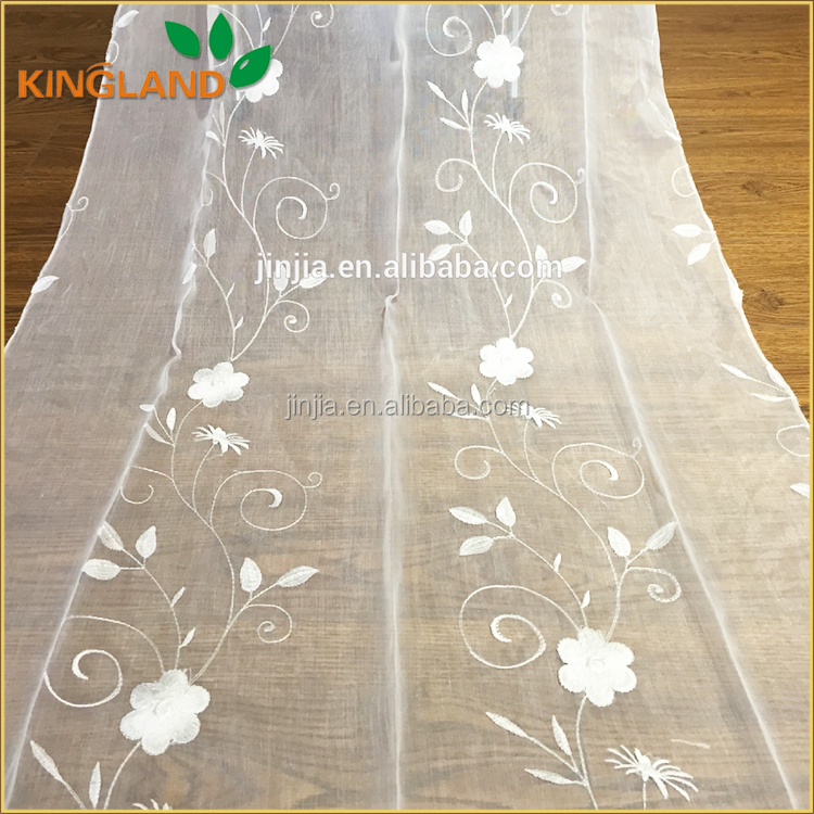 Embroidery Curtain Voile Sheer Curtain Whosale Fabric Cortinas de telas
