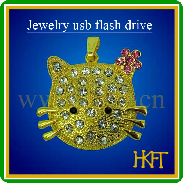 New arrival cat design jewelry necklace 4gb usb flash drive with glitter ornament