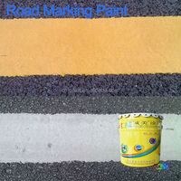 Raw materials for cold plastic fluorescent road marking paint