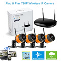 4ch 720P 960P Wireless Surveillance 4 Channel Combo CCTV Wifi IP Camera DVR Kit H.264 Outdoor Inside Security System Mini Bullet