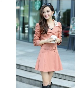 D60766A SPRING 2014 KOREAN OF SWEET NEW WOMEN LONG SECTION OF WOMEN'S DOUBLE-BREASTED TRENCH COAT