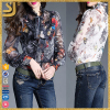 2016 Custom latest designs silk printed summer blouse for women