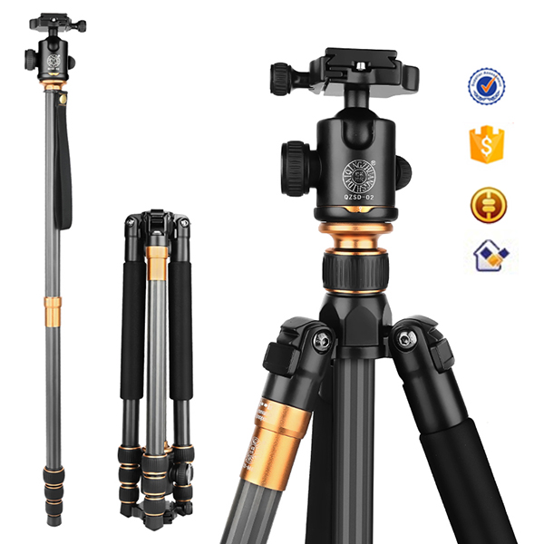 62'' Q999C Portable 15KG load carbon monopod stand professional camera tripod for slr video digital camera