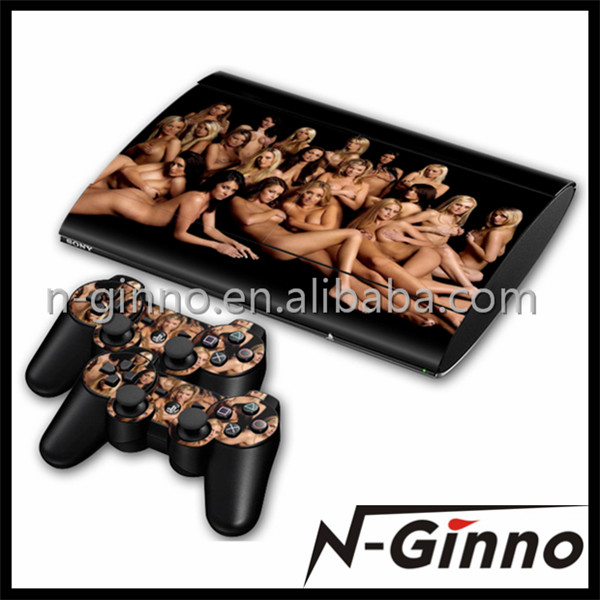 Hot selling video game accessory vinyl skin sticker for ps3 super slim console and controller skin stickers