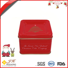 JH Hot sale delicate Christmas square cookie tin packing box
