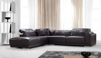 Leather sectional sofa with stainless steel chassis, for living room, headrests are adjustable