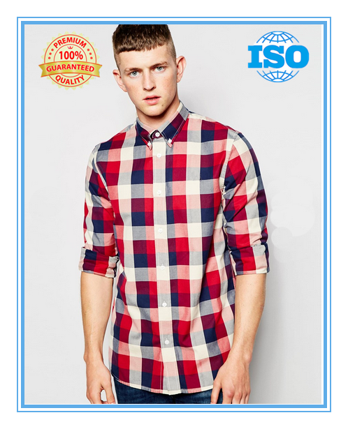 Men's 100% cotton red check poplin long sleeve button down shirt
