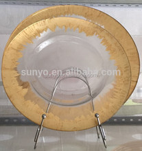 Elegant Customized Handmade Silver Gold Rim Electroplating Shaped Glass Charger Plate for Wedding/Restaurant