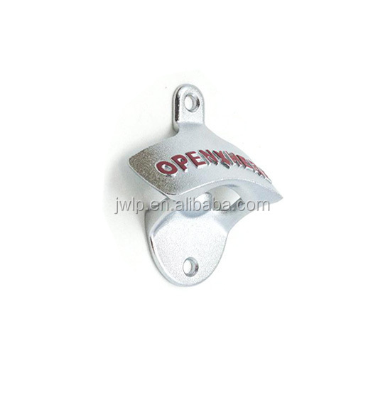 Open here wall mounted bottle opener with two screws and two plugs