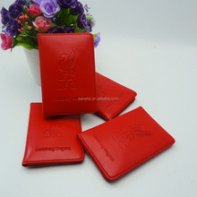 OEM brand top quality red genuine leather vertical business card holder