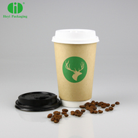 Disposable Custom Printed hot coffee kraft paper cup with lid