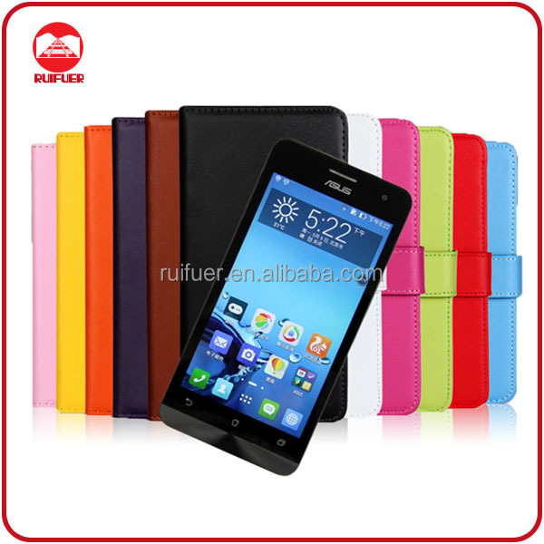 China Manufacturer Wholesale Book Pouch Stand Pocket Wallet Leather Case Flip Cover for Asus Zenfone 5