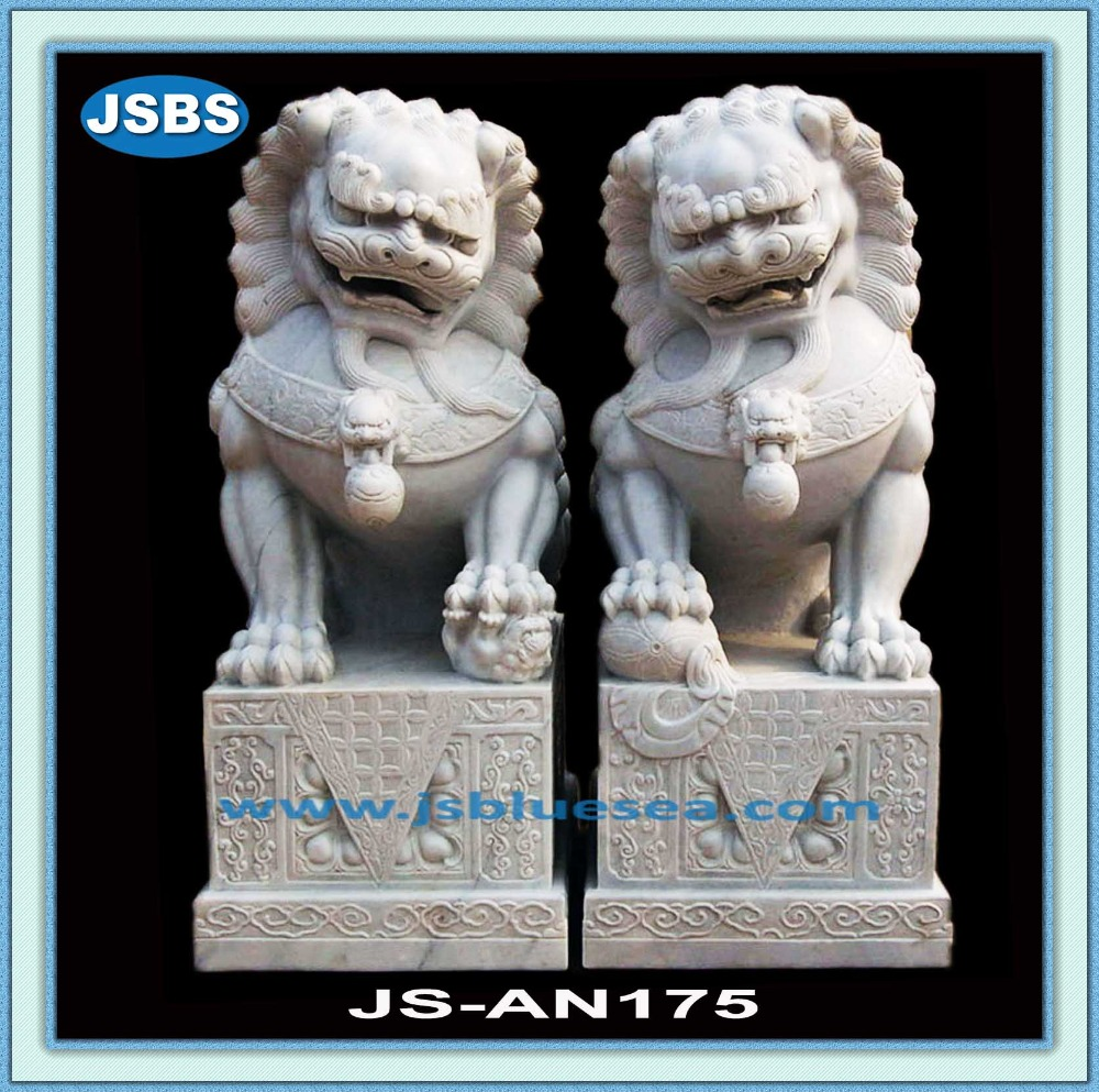 Large Outdoor Stone Sitting Chinese Fu Dog Welcome Statue
