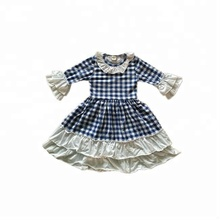 Persnickety Children Boutique Clothing Little Girls Ruffle Plaid Dress Remake Baby Girl Cotton Dress