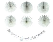 UMISS PAPER 7pcs Hanging Paper Fans Snowflake Merry Christmas Banner Christmas Decoration