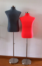 half body tailor mannequin male dummy covered with flame retardant fabric in black and red color with metal stand