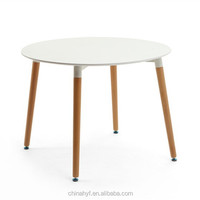 Strong styled MDF round table with beech wood legs TB-01