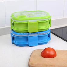 Silicone Square Thermo Heated Shape Food Storage Tanks American Bento Lunch Box With Dividers Eco-Friendly Food Container