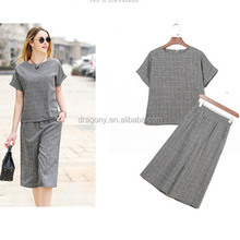 6XL 2sets stock apparel grid woman trouser two-piece suit designed for fat MM