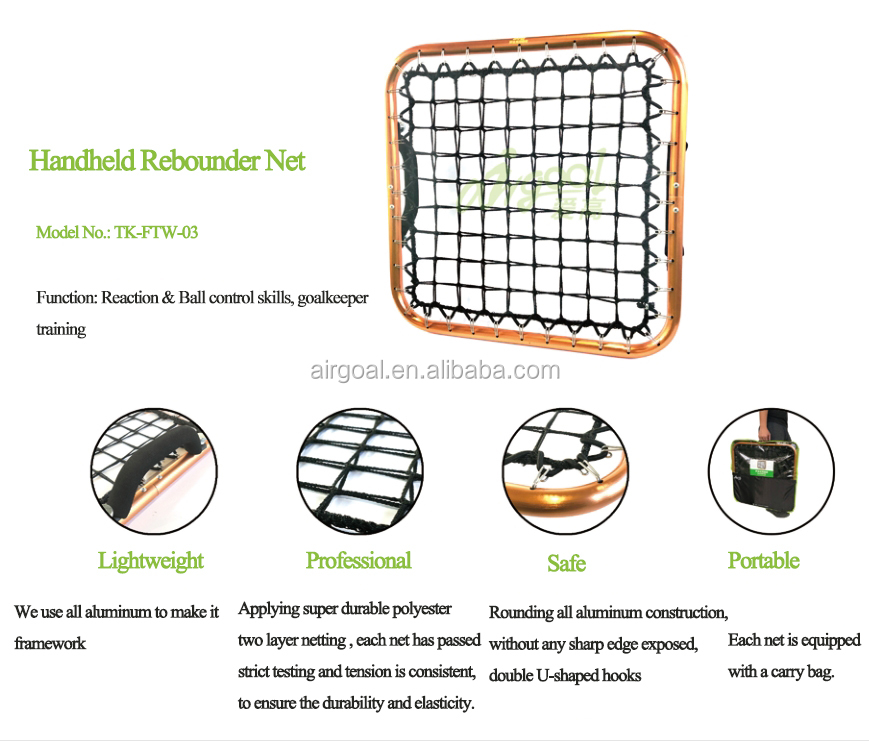 Portable weight 1.42kg Rebounder goal football net with handle