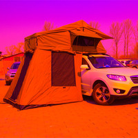 Folding portable camping equipment car roof top tent with annex