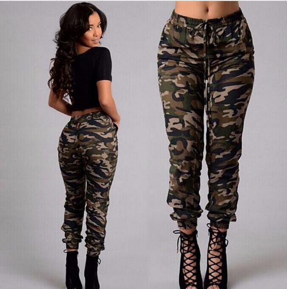 2017 autumn army cargo pants women camouflage printed Military Pants elastic waist Pants plus size
