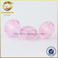 diamond cut pink faceted checkerboard big hole wholesale glass gems