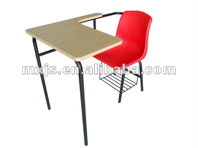 School Desk with attached plastic chair and bookshelf