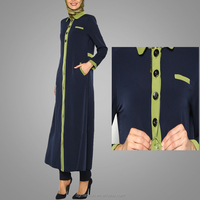 2016 Brand Custom Dual Color Abaya Long Coats With Buttons For Muslim Women