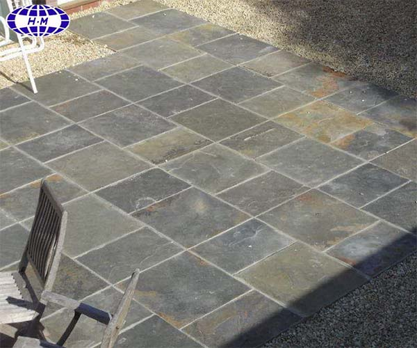 Cheap outdoor nature surface grey green slate floor