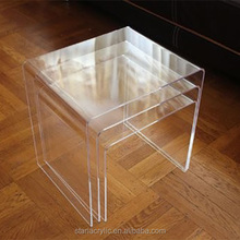 Clear Acrylic Morden Nesting Coffee End 3pc Lucite Side Table Set