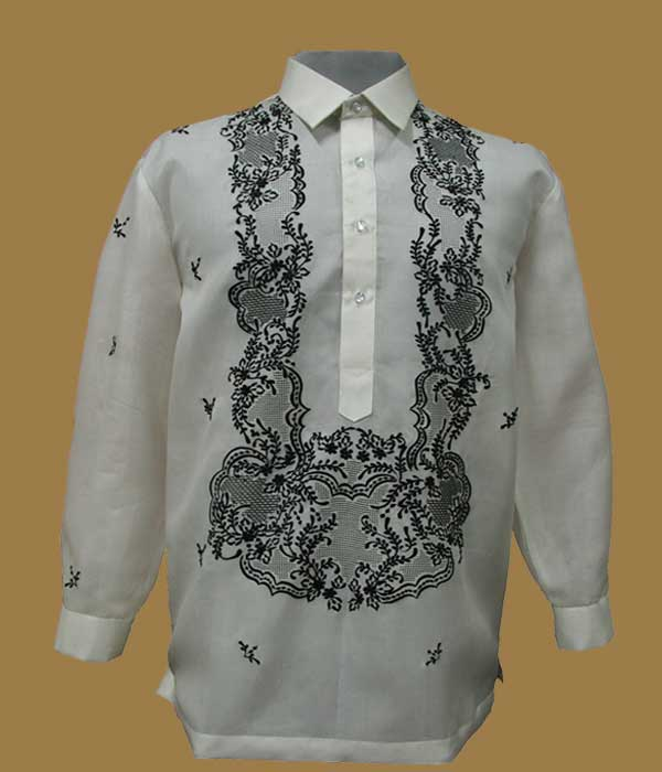 Colored Jusi Barong With Black Embroidery