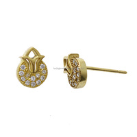 New Fashion Small Zircon Diamond Imitation Diamond Stud Earrings Gold Earrings Designs for Girls