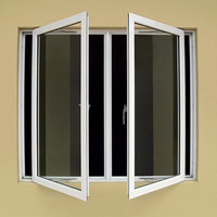 European style standard double glass thermal break insulated aluminium casement window