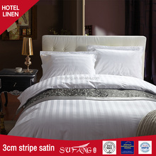 High quality cheap 400TC 1cm and 3cm stripe satin hotel bedding manufacturer in nantong