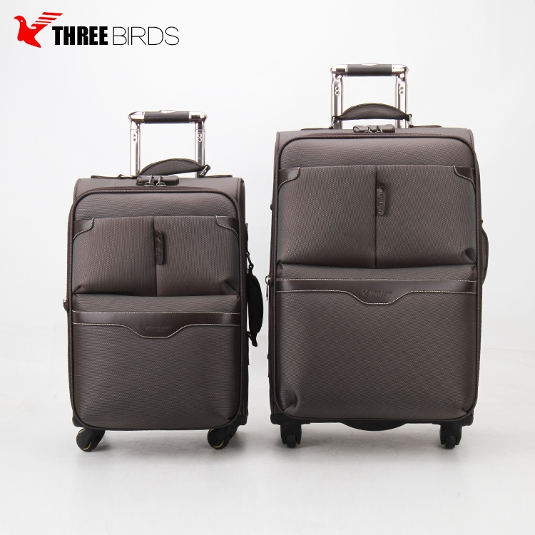 2017 THREE BIRDS 6013 scilent universal wheel aluminun box 20/24/28inch Travel Trolley Luggage for men and women