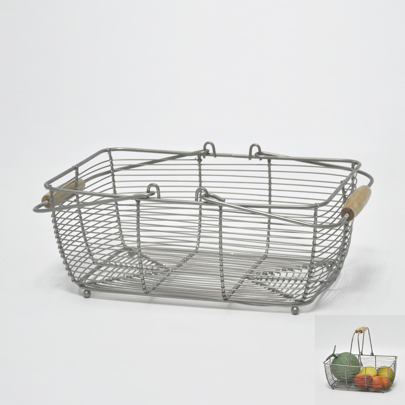Vegetable And Fruit Wire Mesh Basket With Rectangle Shaped Handle