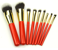 professional 9pcs cosmetic brush set with travel pouch