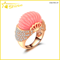 New arrival pink gold plating red turquoise stone engraved 925 sterling silver cz rings