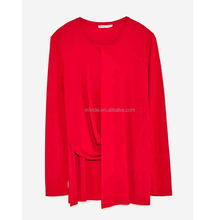 Sexy Ladies Long Sleeve Silk Blouses Women Fashion Long Sleeve Plain Dyed Blouses Tops Cheap Wholesale Custom Made in China