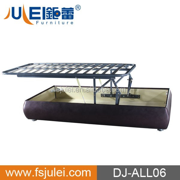 Horizontal Pu Leather Bed Frame Gas Lift