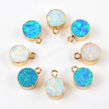 G1469 7mm Round Gold Plated Blue Opal Charm Pendants