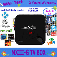 Manufacturer supply!!! box 2G RAM 8G ROM Android 5.1 Quad Core MXIII-G Smart TV Box Amlogic S812 XBMC Bluetooth