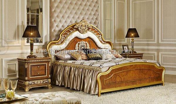 0062 Luxury Wood Carved Crown Bedroom Set Furniture Home