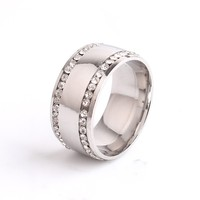 10mm Double Rows Rhinestone Crystal Smooth Stainless Steel finger rings jewelry stainless steel