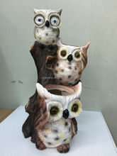 New owl design solar eergy lighting eyes resin material flower pot wholesale