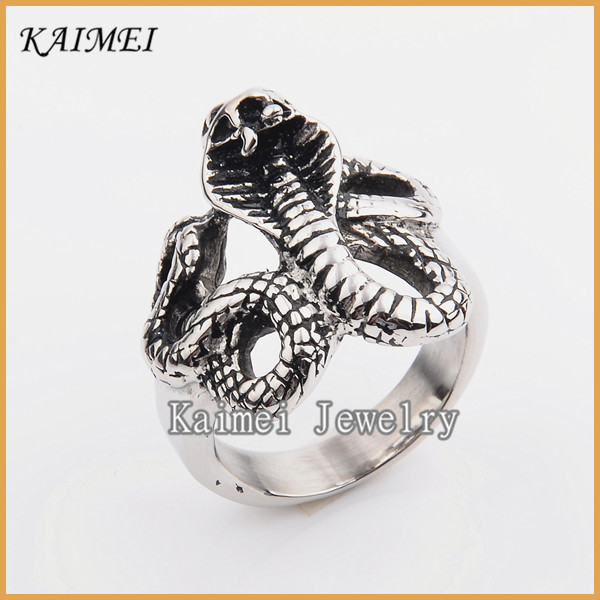 Hot Selling Korea Latest Design Unique Cheap Animal Shaped Silver Snake Ring For Men