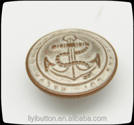 20mm anchor antique copper tin embossed logo with brass loop buttons/ sewing button for garment
