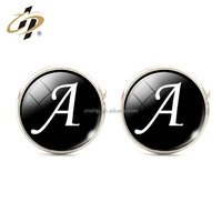 Professional craft custom return gift optional letter metal cuff links for men
