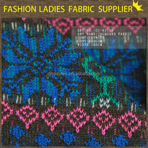 ethnic design jacquard fabric 100%cotton knitted fabric gots certified organic cotton knit fabric